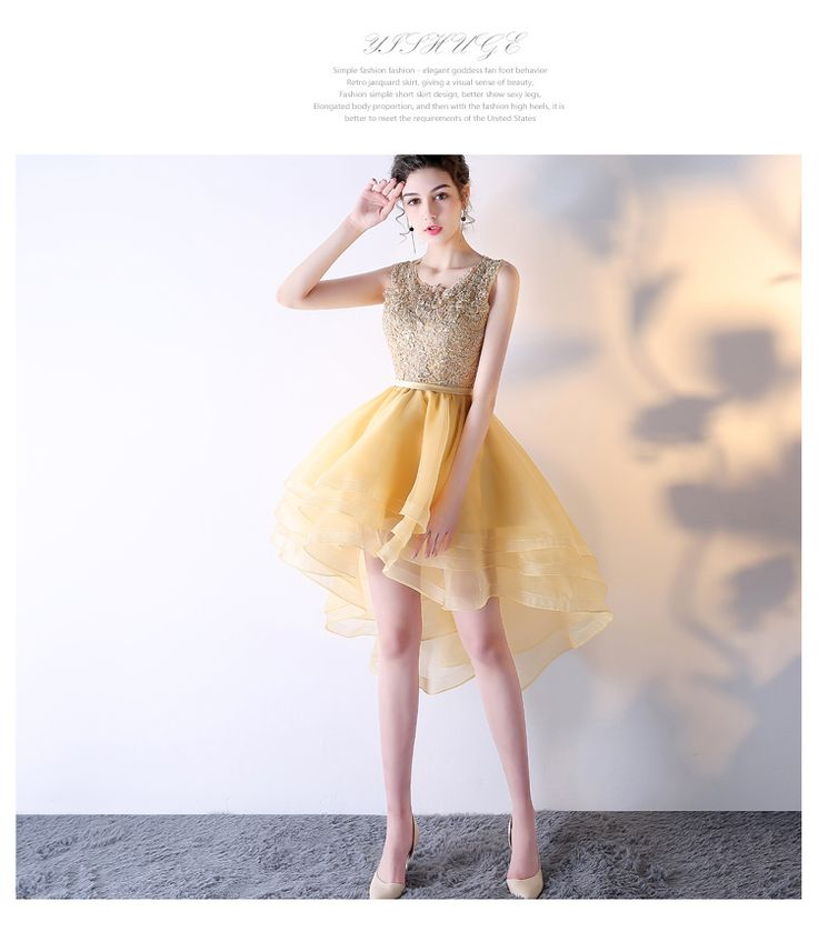 Uhc0039, High-low homecoming dresses, yellow homecoming dresses, O-neck homecoming dresses, open back homecoming dresses