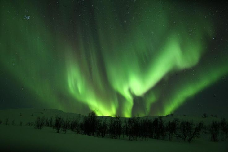 Northern lights. Abisko National Park in the Kiruna Mountains, Sweden.
