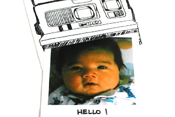 Polaroid-inspired announcement- 15 Ideas for Creative Baby Announcements - ParentMap