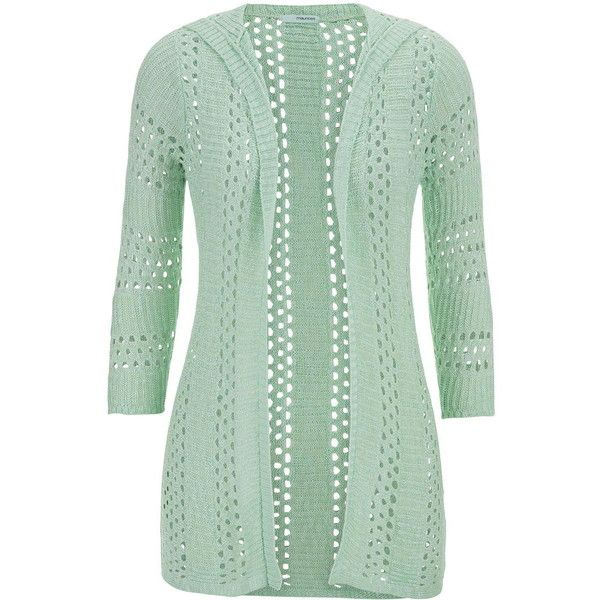 maurices 3/4 Sleeve Open Stitch Hooded Cardigan (24 BRL) ❤ liked on Polyvore featuring tops, cardigans, jackets, sweaters, mint, mojito, three quarter sleeve tops, 3/4 sleeve tops, green cardigan and mint cardigan