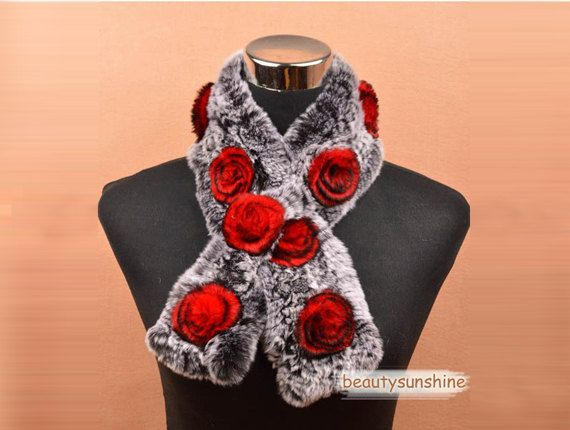 100% real Rex rabbit fur scarf red flower high quality winter warm wrap accessories 238 on Etsy, $45.69