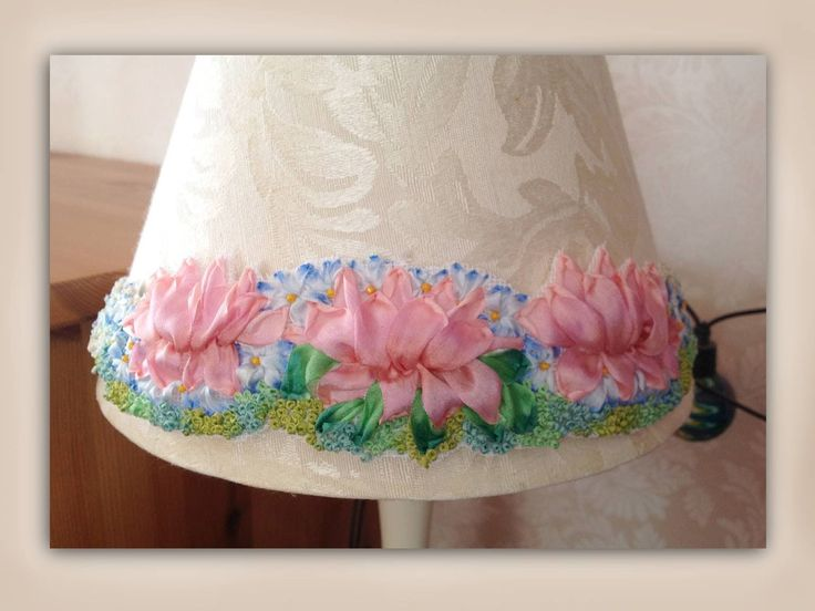 how to make a silk ribbon embroidery lampshade embellishment