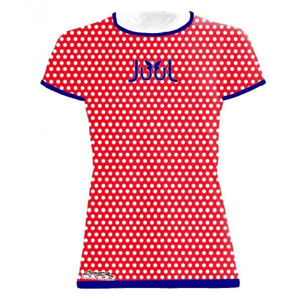 Dámské sportovní tričko Puntíky - červená