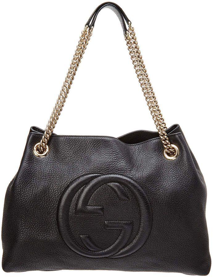 ba3019c29c Gucci Black Leather Soho Chain Shoulder Bag | bags | Bags, Black ...