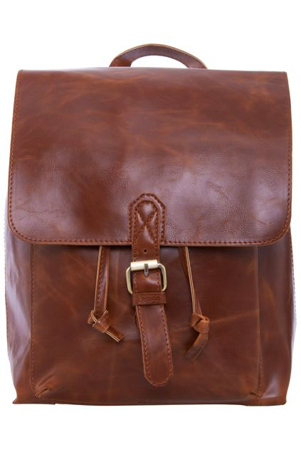 ROMWE | ROMWE Khaki Soft Faux Leather Backpack, The Latest Street Fashion