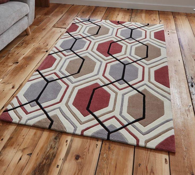 "Modern grey peach geometric rug 120 x 170 cm (4ft0"" x 5 ft 7"") #HongKong7526greypeach #Contemporary"