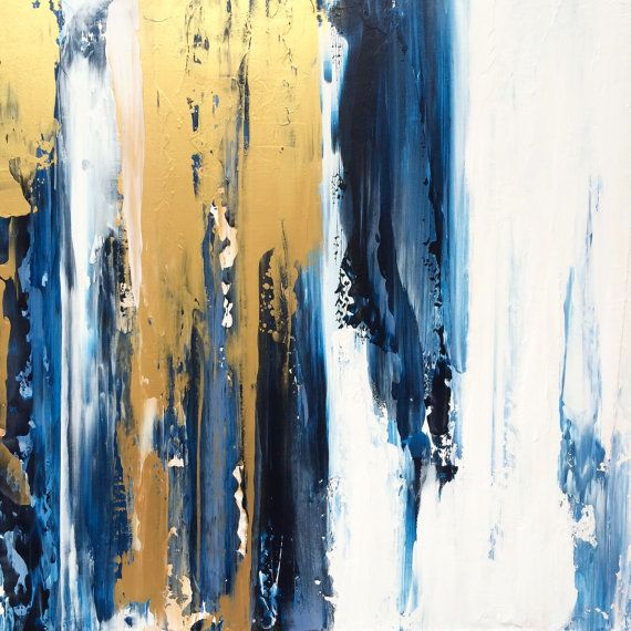 Large Abstract Painting 24x24 Gold White by JenniferFlanniganart