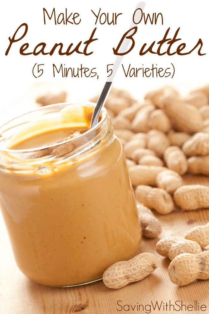 How to make your own peanut butter in just 5 minutes. No junk. No preservatives. See recipes for Creamy, Chunky, Cinnamon-Raisin, Honey and Chocolate Peanut Butter. You'll never buy store bought again!
