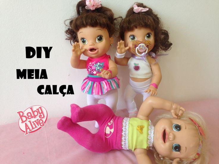 COMO FAZER MEIA CALÇA PARA BABY ALIVE E OUTRAS BONECAS /DIY PANTYHOSE