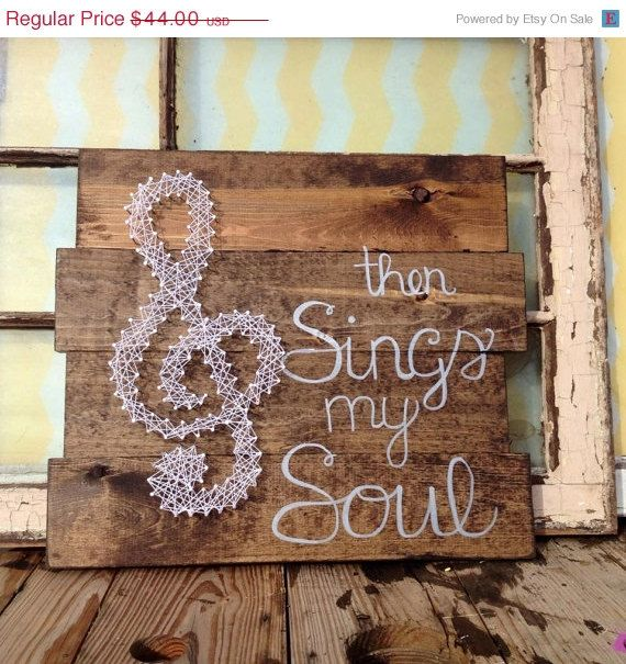 $44 etsy SALE Nail and String Art Treble Clef on Stained staggered boards by NailedItDesign.etsy.com