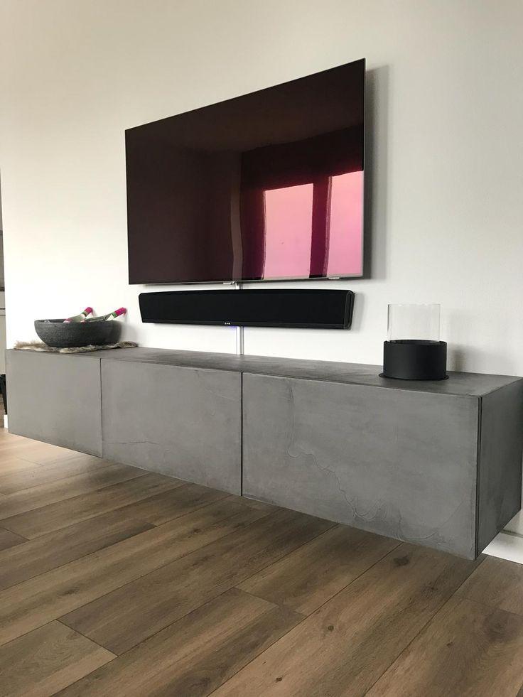 Beton Tv Meubel.Tv Meubel Betonlook Home Theater Rooms Living Room Decor Modern