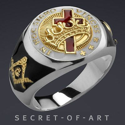 KNIGHTS TEMPLAR MASONIC FREIMAURER RING SILVER 24K GOLD-PLATED