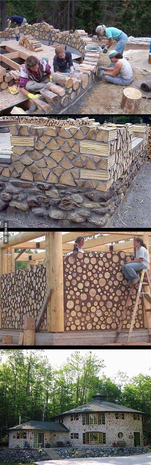 Interesting log house design.