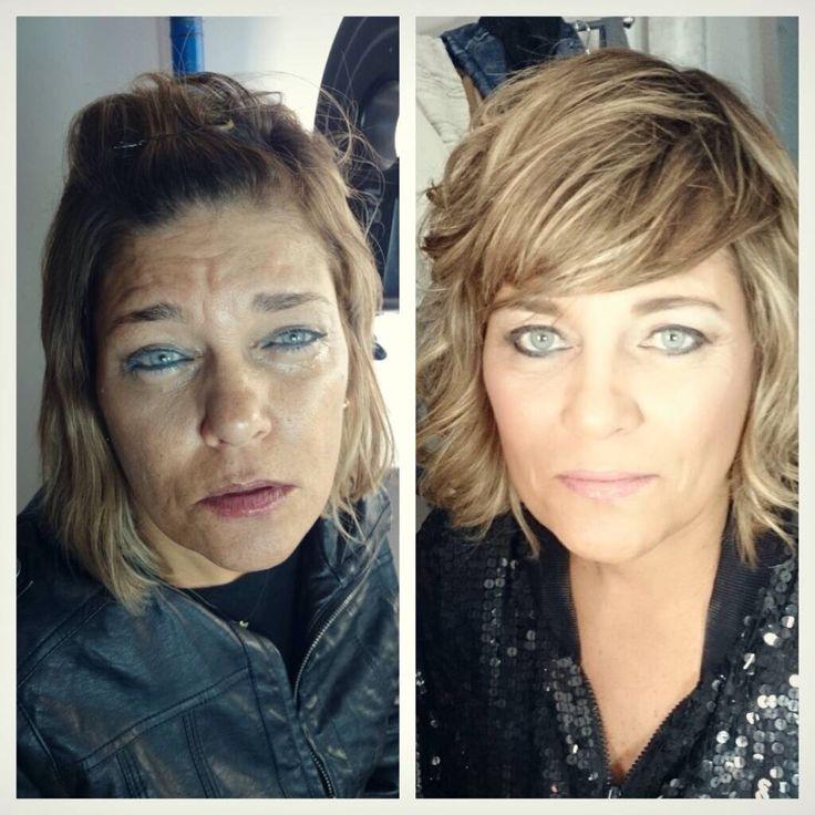 Antes y después , maquillaje y peinado , look natural