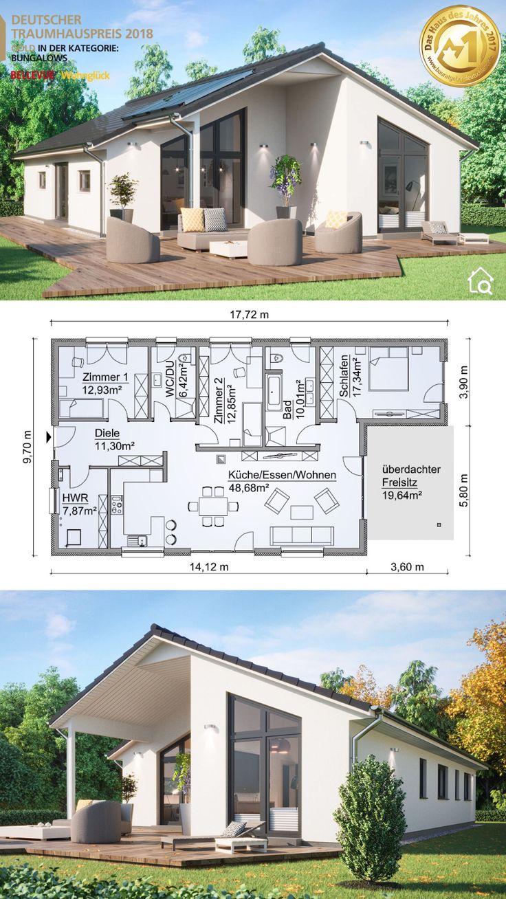 Fertighaus Bungalow modern mit Satteldach Architektur & 4 Zimmer Grundriss recht… – HausbauDirekt