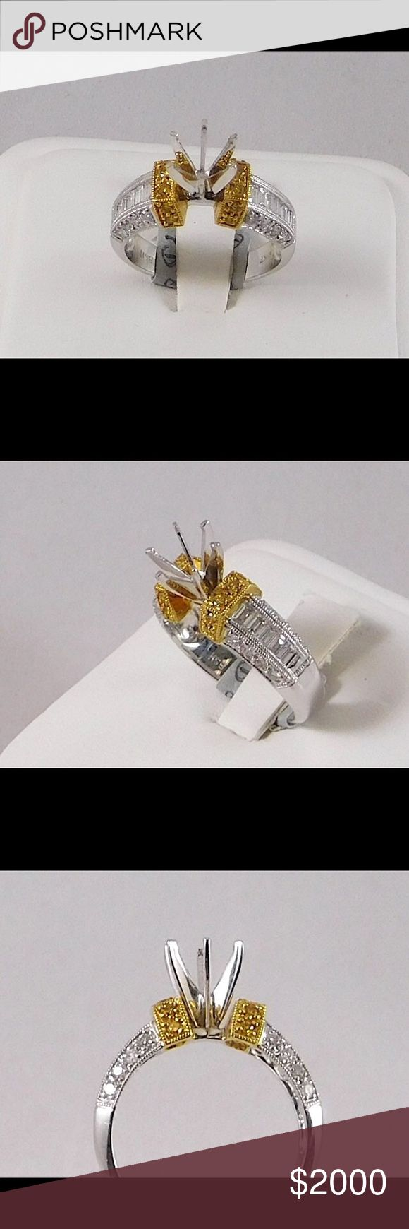 18k Engagement Ring Mounting, white&yellow diamond Beautiful engagement ring mounting. Two tone of 18 karat white and yellow gold. 0.25 carats of a round white diamonds and 0.45 carats of baguette white diamonds and 0.15 carats of a round yellow diamonds. Ready for Centerstone Jewelry Rings