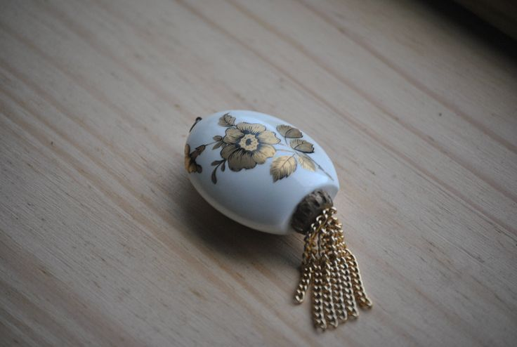 Delicate Ceramic Pomander Scent Bottle Pendant. Floral Design with Golden Tassels. Pretty and Attractive. English Made. Ideal Collectable by Joolzandnico on Etsy