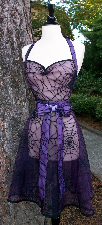Purple and Black Spiderweb Chiffon Apron