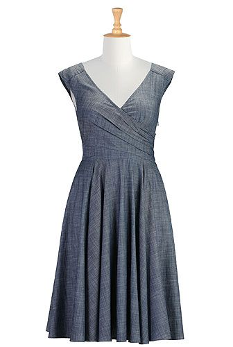 Layered faux-wrap chambray dress. I would like all of the dresses on this site in my closet please.
