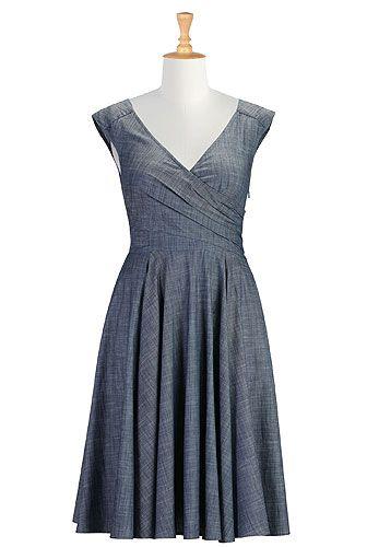 Layered faux-wrap chambray dress
