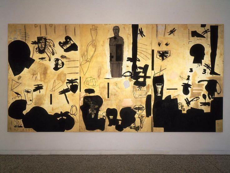 Mimmo Paladino, Senza titolo (Untitled)  1999  mixed media and gold leaf on board  3 panels, 118 1/8 x 236 1/4 in. overall  Castello di Rivoli Museo d'Arte Contemporanea