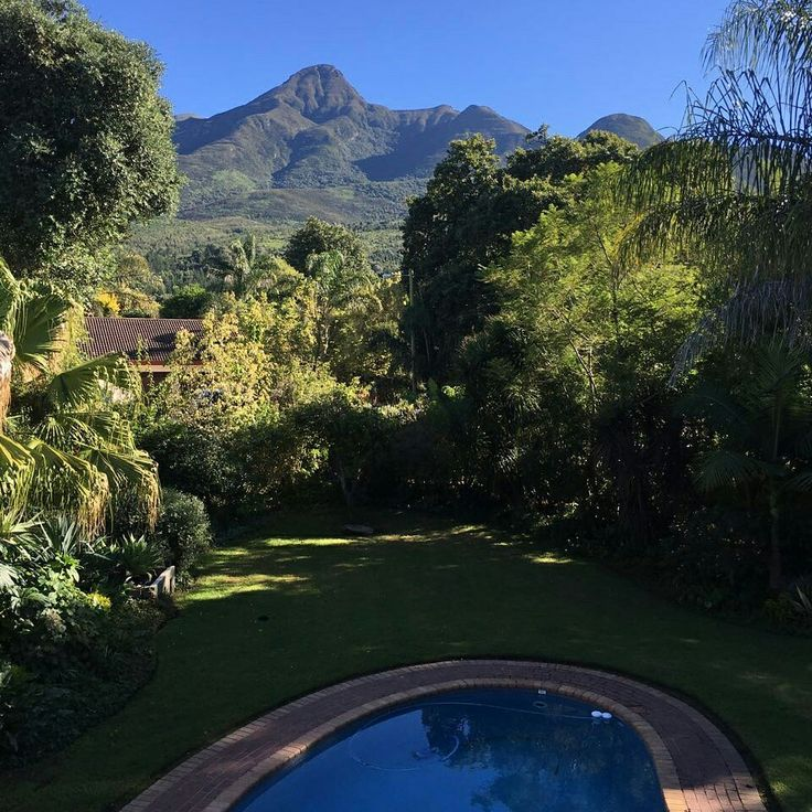 View from the pool overlooking the Outeniqua Mountains