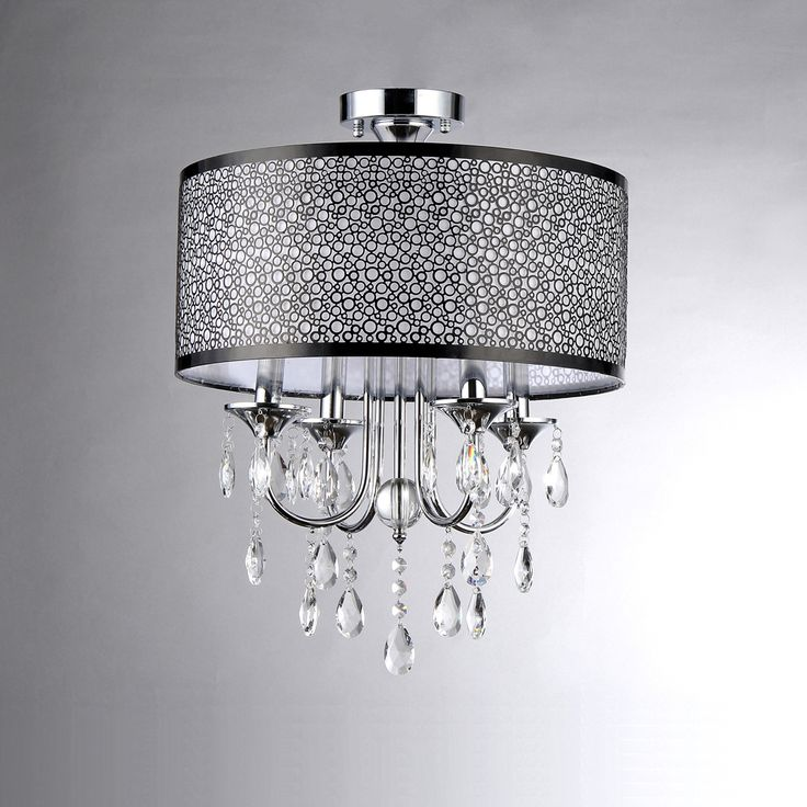 Shane Chrome and Crystal Round Shade Flush-mount 4-light Fixture | Overstock™ Shopping - Great Deals on Warehouse of Tiffany Chandeliers & Pendants