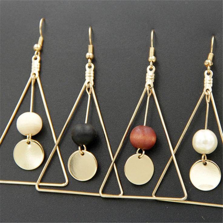 the United States act the role ofing is tasted Minimalist triangle geometry wooden temperament Pendant  earrings Wooden beads se