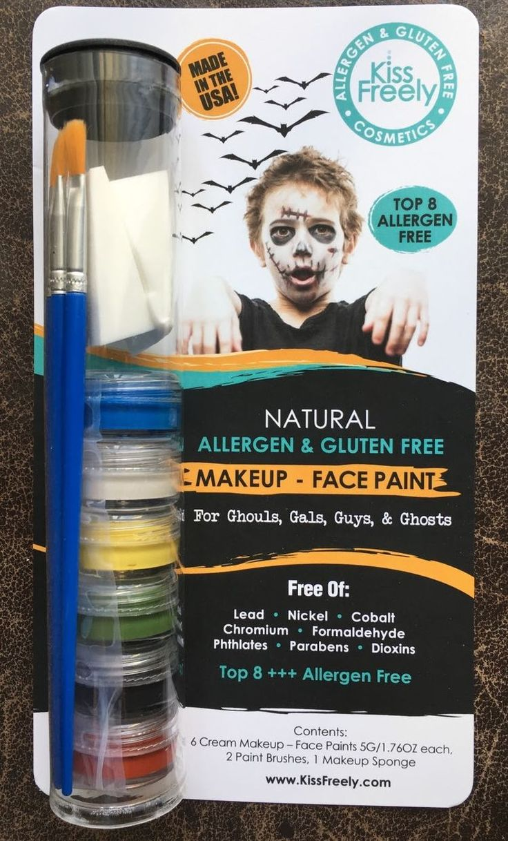 All Natural Allergen Free Face for Halloween 6 x Pack   Face Paint / Makeup for Ghouls, Gals, Guys, and Ghosts