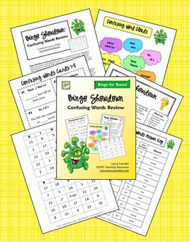 $ Bingo Showdown: Confusing Words Review is a variation of the classic Bingo game that can be used for whole group instruction, small guided reading groups, cooperative learning teams or in learning centers. Students will practice how to use words that are often confused, such as homonyms and contractions. From Laura Candler's Teaching Resources: Task Cards, Student, Reading Group