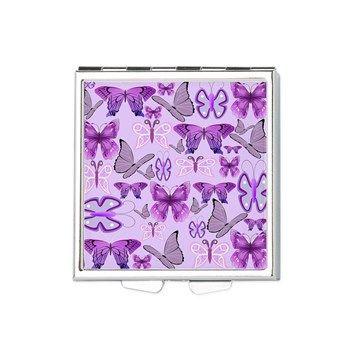 Purple Awareness Butterflies Square Pill Box