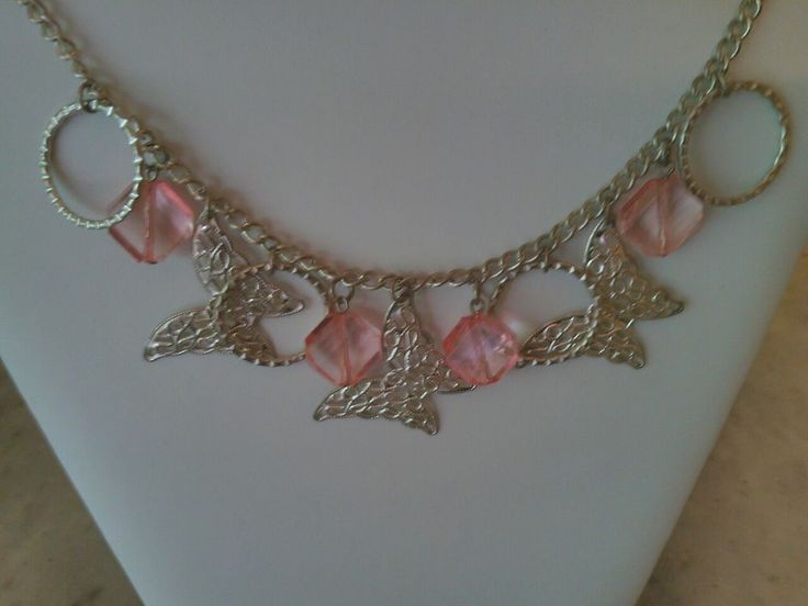 Silver Tone Filigree Butterfly & Ring  Pink Faceted Crystal Bead Charm Necklace  #Butterfly #Charm