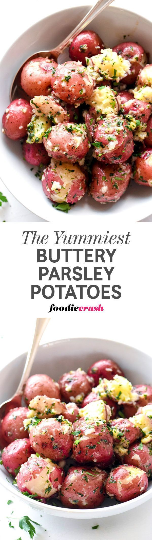 Boiled baby red potatoes get an infusion of butter and parsley to make this super simple side dish one of my all-time favorites for any meal   foodiecrush.com #potatoes #redpotatoes #sidedish
