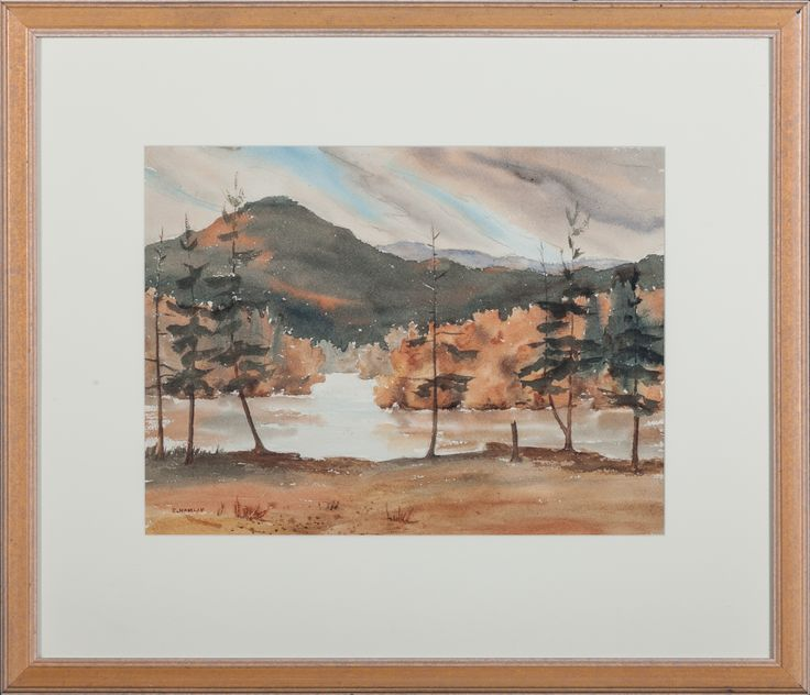 edith hamlin 1902 1992 mountain lake watercolor 12 x 16 signed