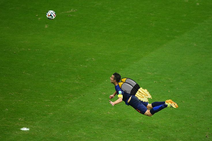 Robin van Persie with the moment of the 2014 World Cup so far.