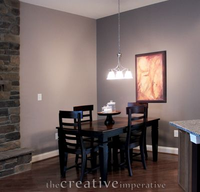 Gray purple kitchen eating nook benjamin moore elephant for Purple paint in kitchen