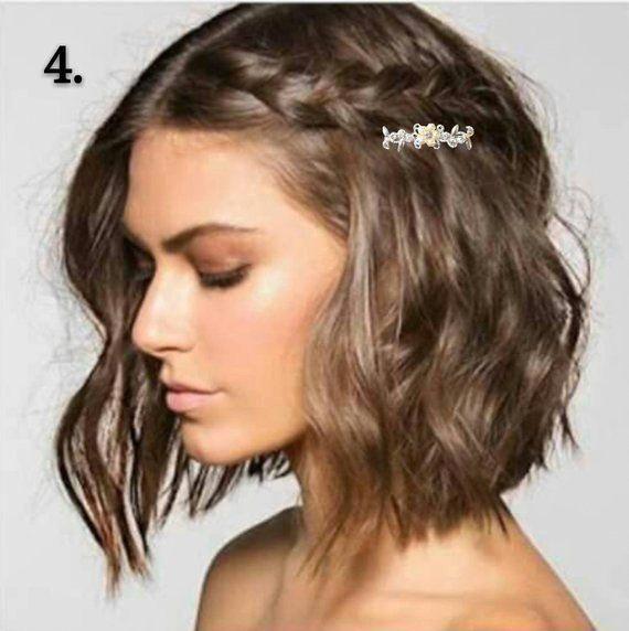 Dieser Satz Von 2 Braut Haar Clip Mit Einzelne Blume Strass Das Haarteil Könnte In Vielen Hochzeit Frisuren Ge Hair Styles Thick Hair Styles Short Hair Styles