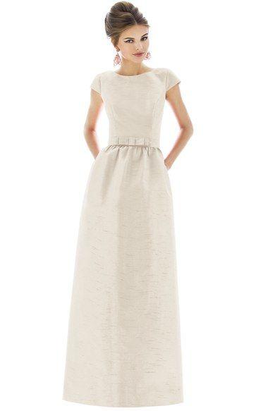 Main Image - Alfred Sung Cap Sleeve Dupioni Full Length Dress