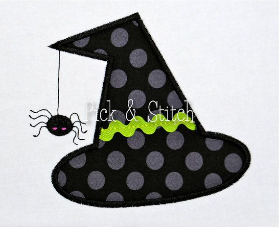 Witch Hat with Spider Halloween Applique Design by pickandstitch, $4.00