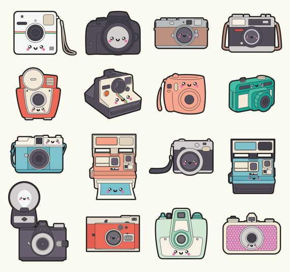 Premium Vector Clipart - Kawaii Camera Clipart - Kawaii Cameras Clip Art Set - High Quality Vectors - Cute Camera Clipart - Instant Download