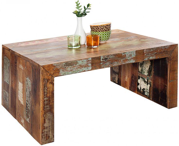 Table basse design en bois massif recyclé 100x70cm