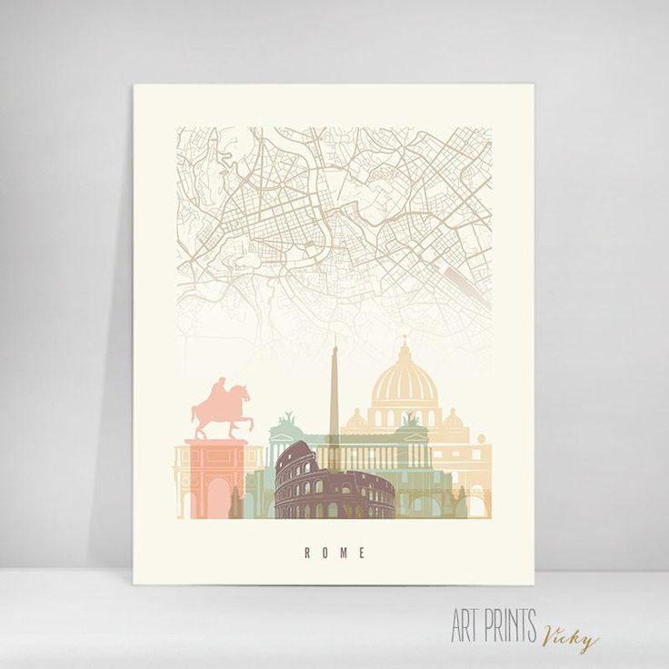 Rome skyline with city map poster