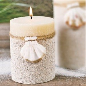 glue sand to a candle, this looks easy and effective