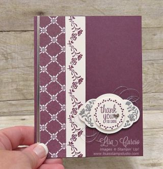 Use the end of the label stamp to create border! Fresh Fig & Label Me Pretty Thank You Card, Stampin' Up!, card, paper, craft, scrapbook, rubber stamp, hobby, how to, DIY, handmade, Live with Lisa, Lisa's Stamp Studio, Lisa Curcio, www.lisasstampstudio.com