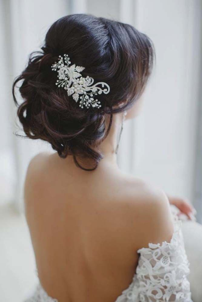 messy wedding updo hairstyle with lace hairpiece - Deer Pearl Flowers