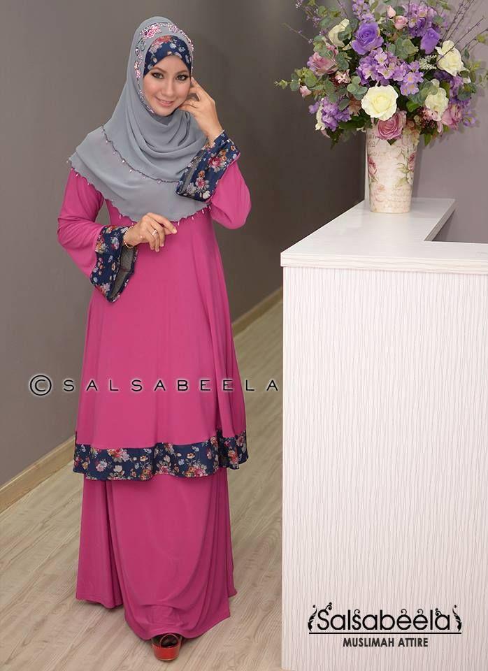 Muslimah Purple Floral Baju Kurung Pahang