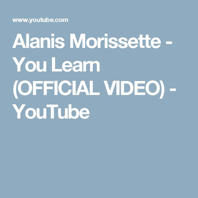 Youtube alanis morissette you learn live