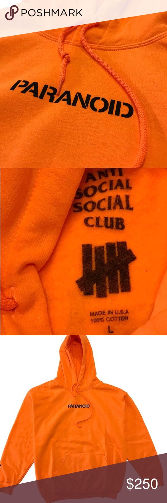 ASSC x Undefeated Paranoid Hoodie SZ LARGE Worn once, never washed no flaws. Anti social social club x undefeated collab orange Supreme Sweaters