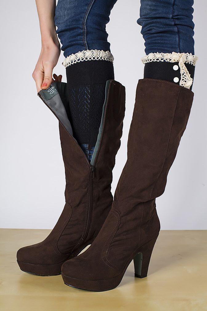 レーストリムレッグウォーマー ボタンかぎ針編み靴下 レディース