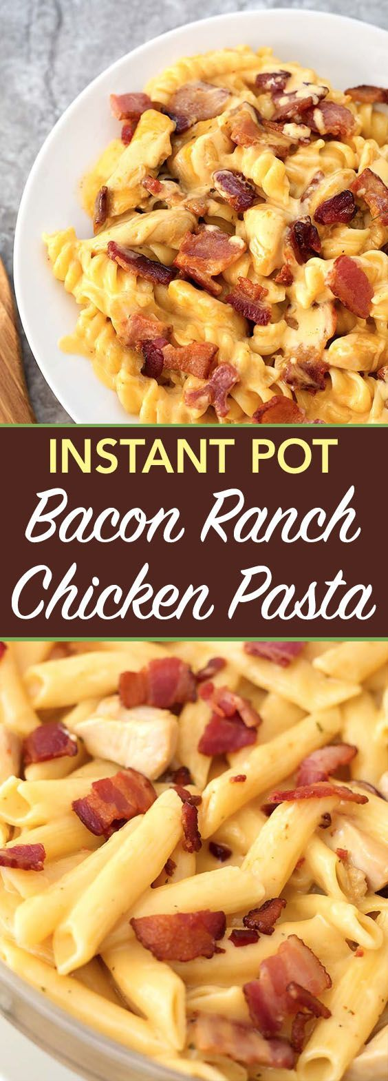 Instant Pot Chicken Bacon Ranch Pasta is a tasty cheesy pasta dinner with chicken and ranch dressing flavor, made in your electric pressure cooker. simplyhappyfoodie.com #instantpotrecipes #instantpot #instantpotchickenbaconranchpasta #instantpotchickenpasta